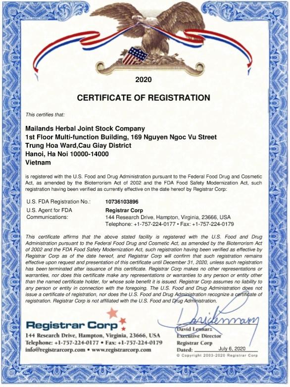 Đông trùng hạ thảo Cordyceps King đạt chứng nhận FDA của Cục quản lý thực phẩm và dược phẩm Hoa Kỳ